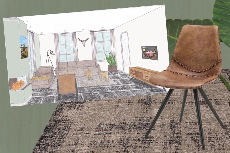 Interieurontwerp: Woon-/eetkamer voor de familie - stripedpanda